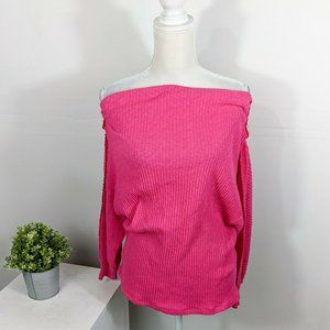Gibson Pink Marilyn Ribbed Off Shoulder Sweater